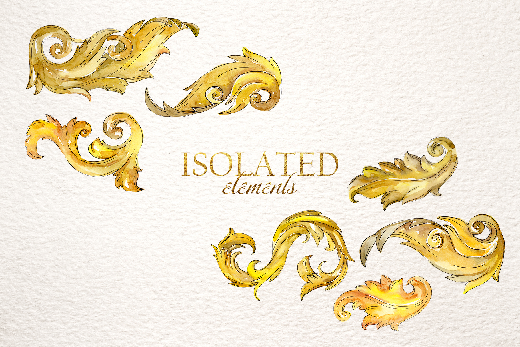 Gold monograms Watercolor png example image 3