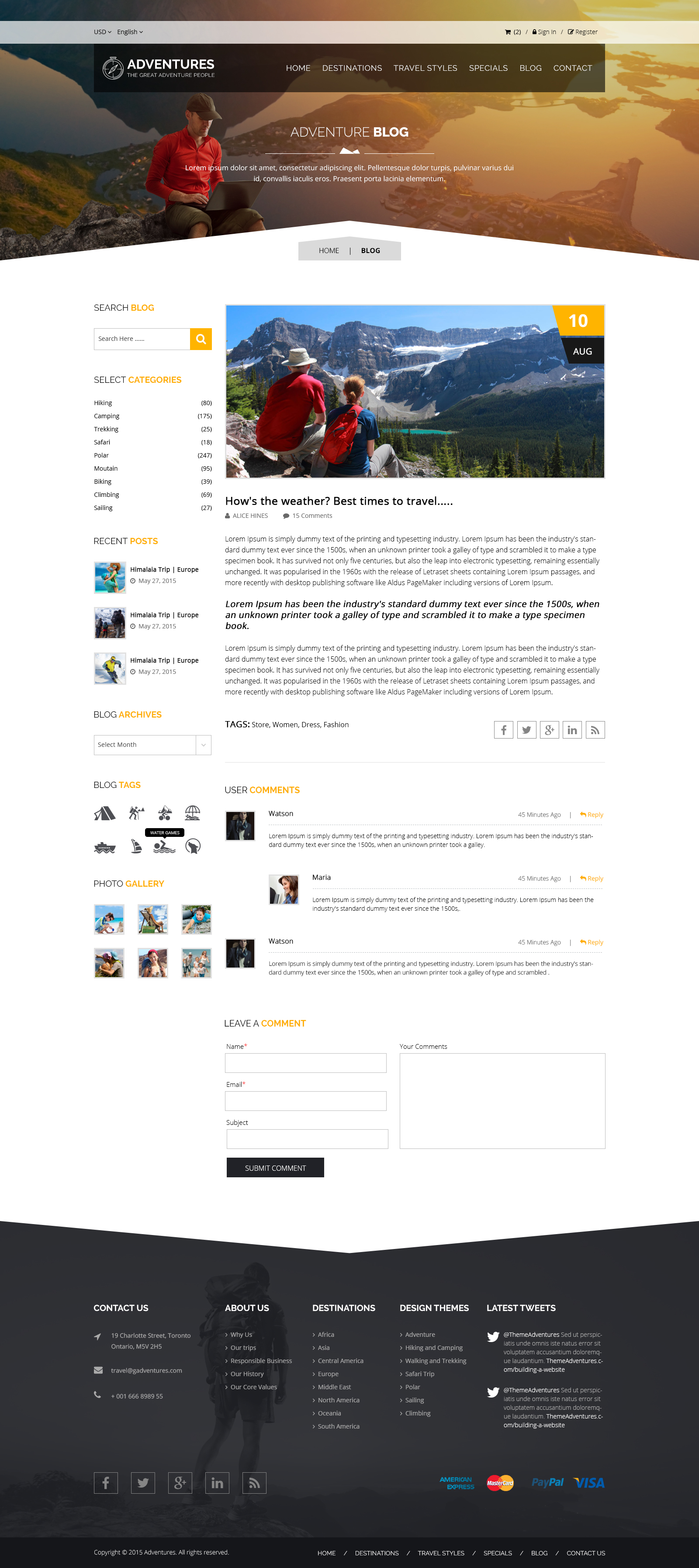 Adventures and Tour PSD Template example image 13