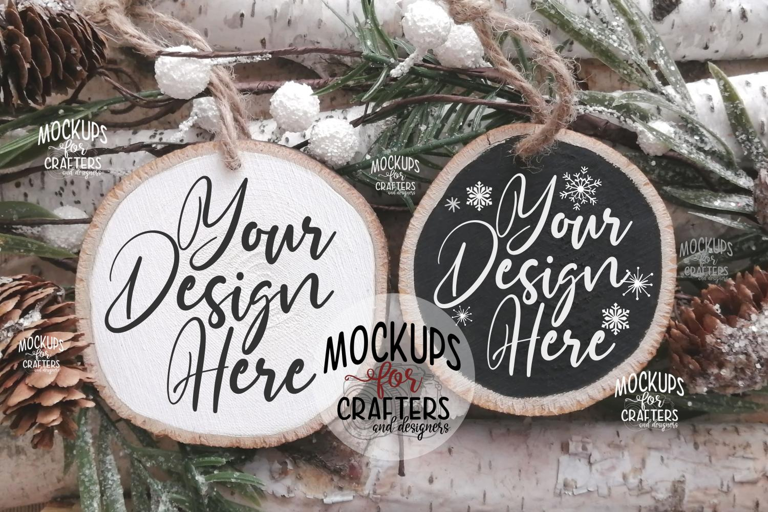 Wood Slice Ornament Duo, Christmas theme, example image 1