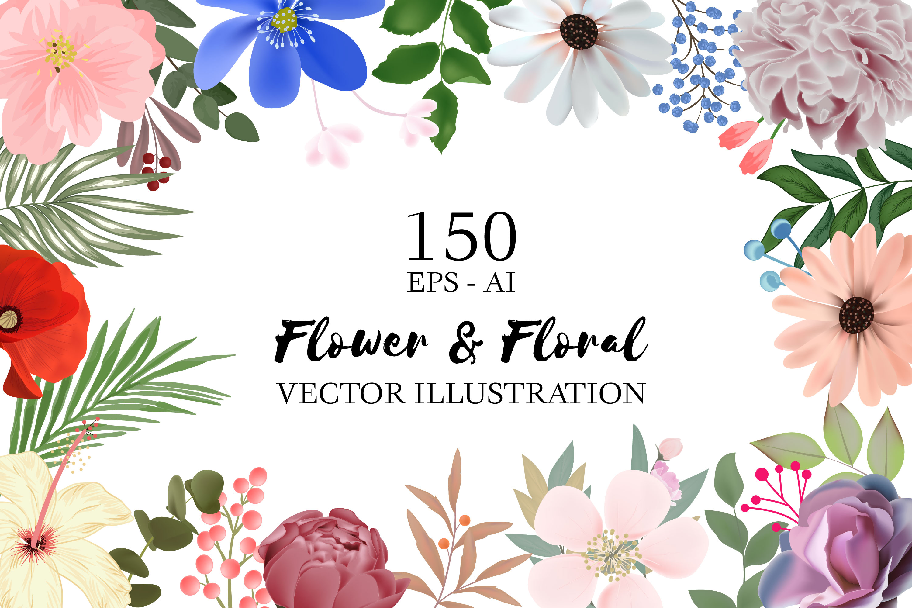 150 Flower and Floral Vector Illustration Element example image 1
