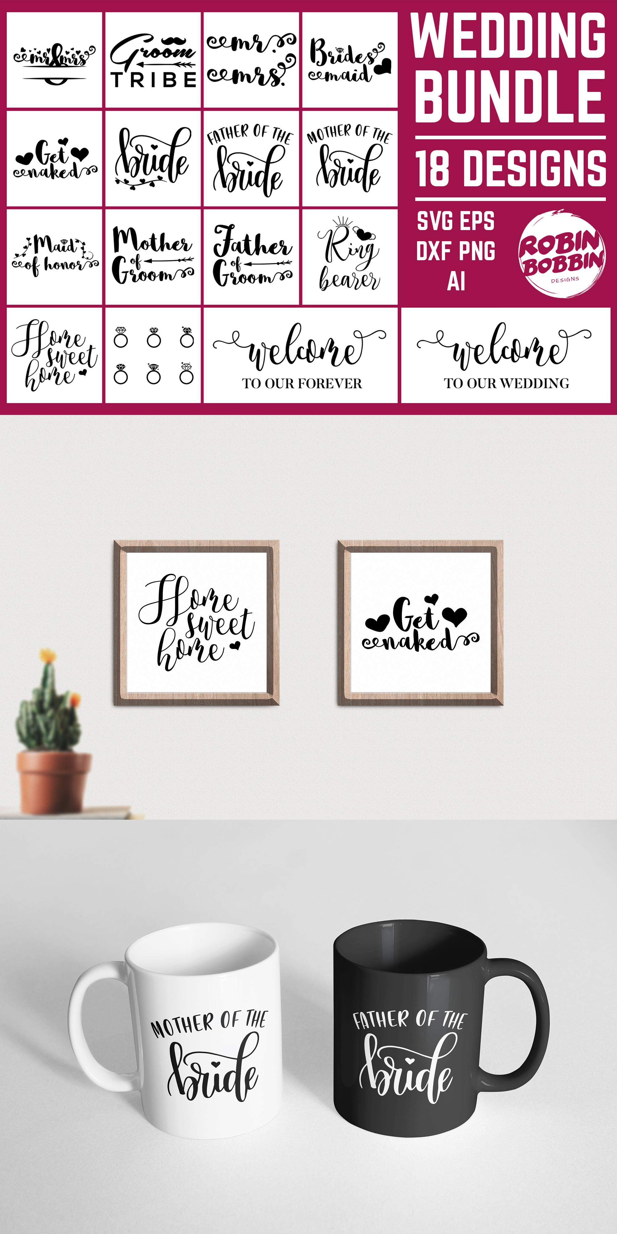 Wedding Bundle 18 Designs SVG Files - Wedding Set SVG EPS AI example image 7