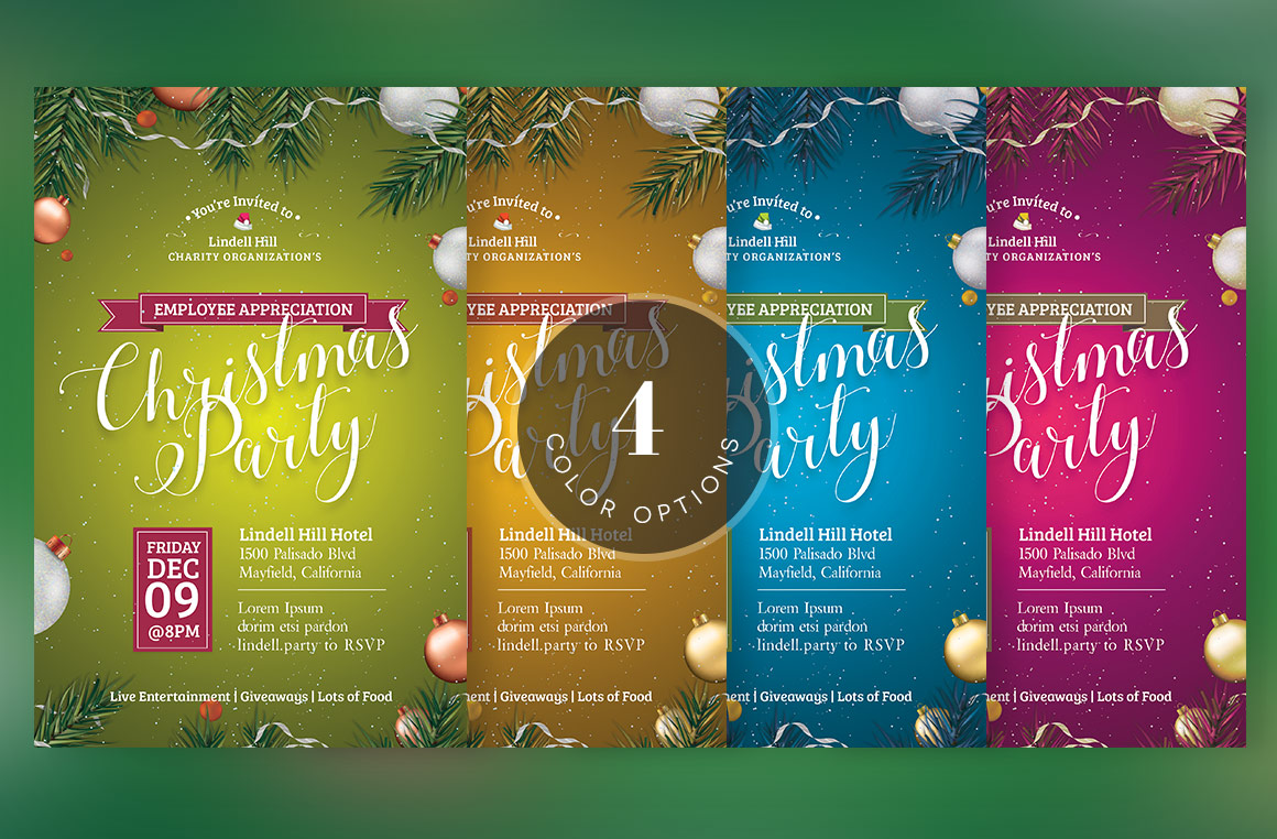 Green Christmas Party Flyer Template example image 5