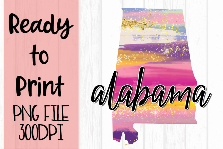 Alabama Painted States Ready to Print example image 1