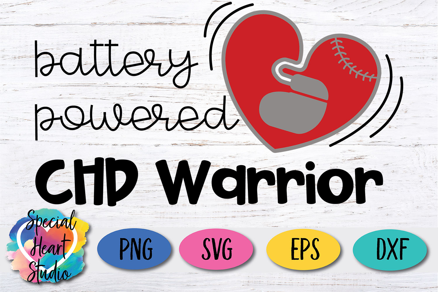 Battery Powered | Pacemaker |CHD Awareness SVG cut file example image 2