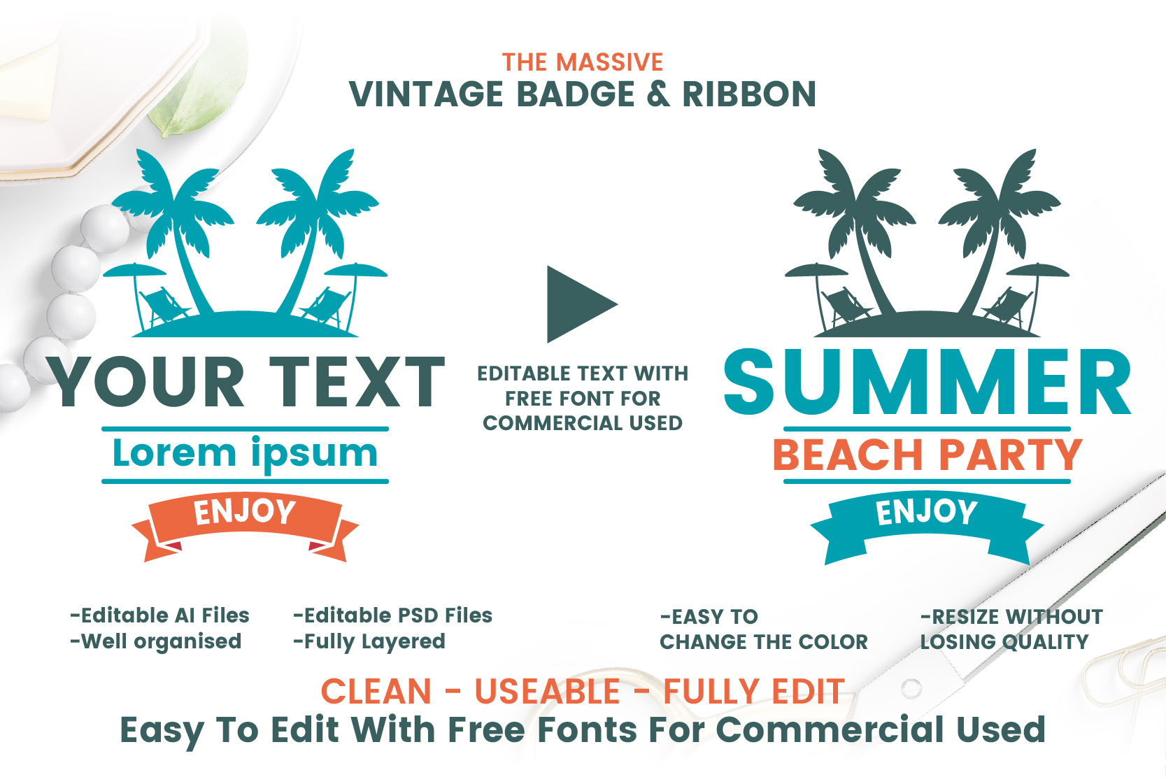 63 SUMMER VINTAGE BADGE & RIBBON example image 3