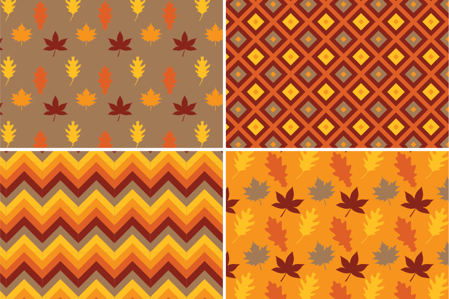 8 Seamless Autumn Patterns Set 1 example image 3