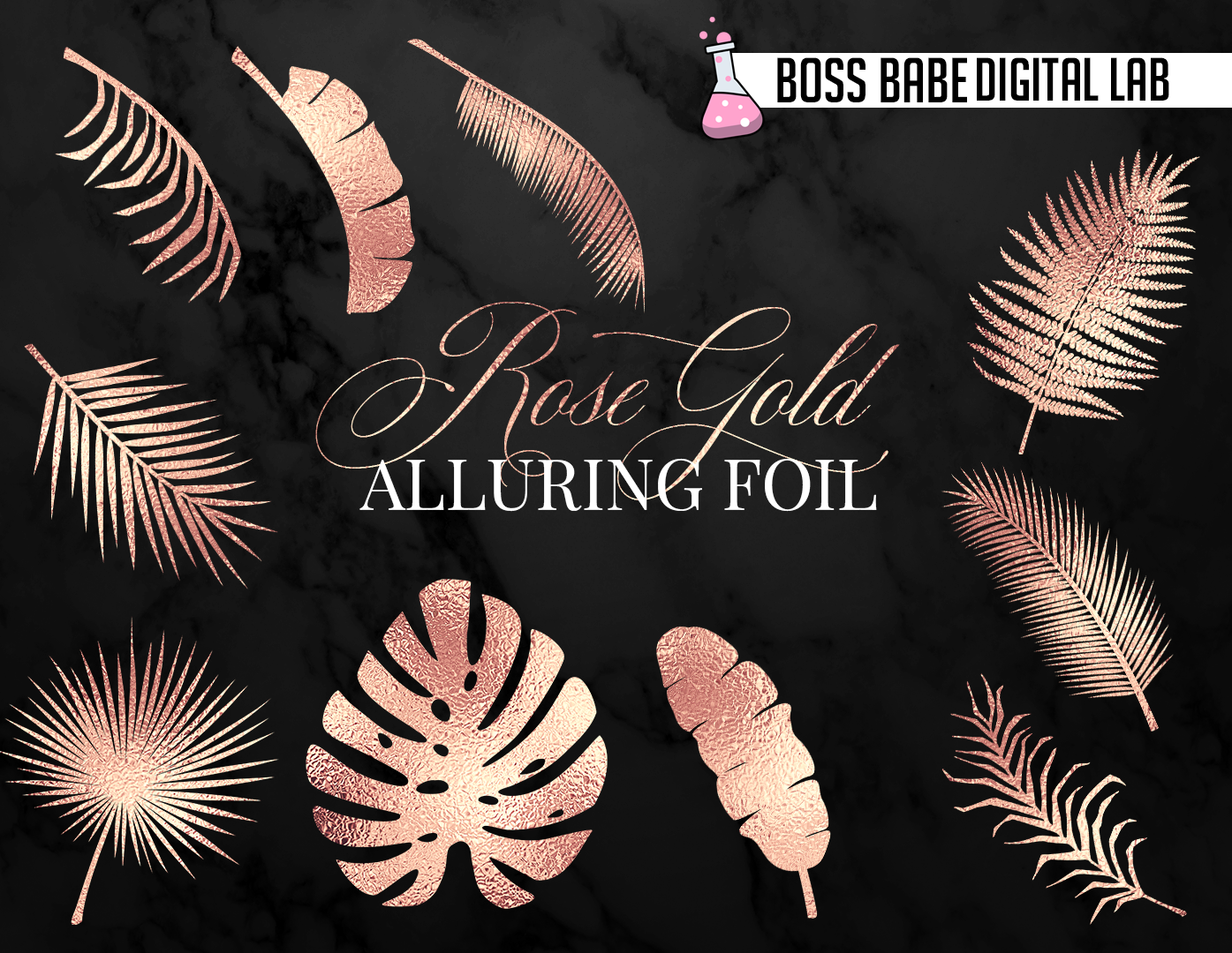 Rose Gold Tropical Leaves Clipart example image 5