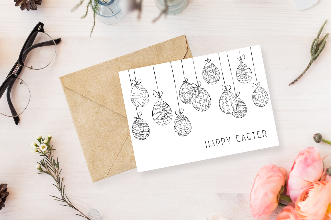 Hand drawn Easter background, card example image 2