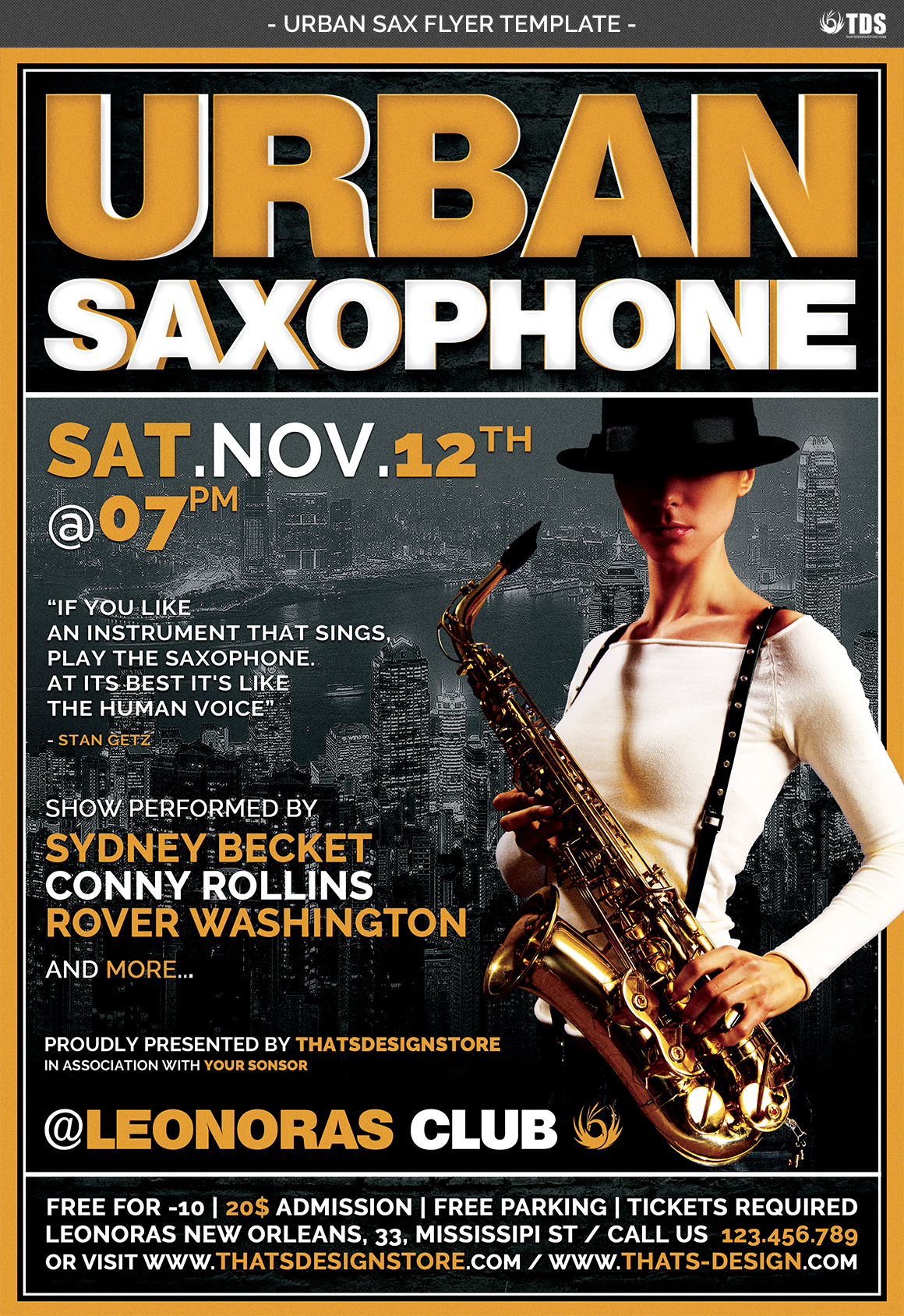 Urban Sax Flyer Template example image 4
