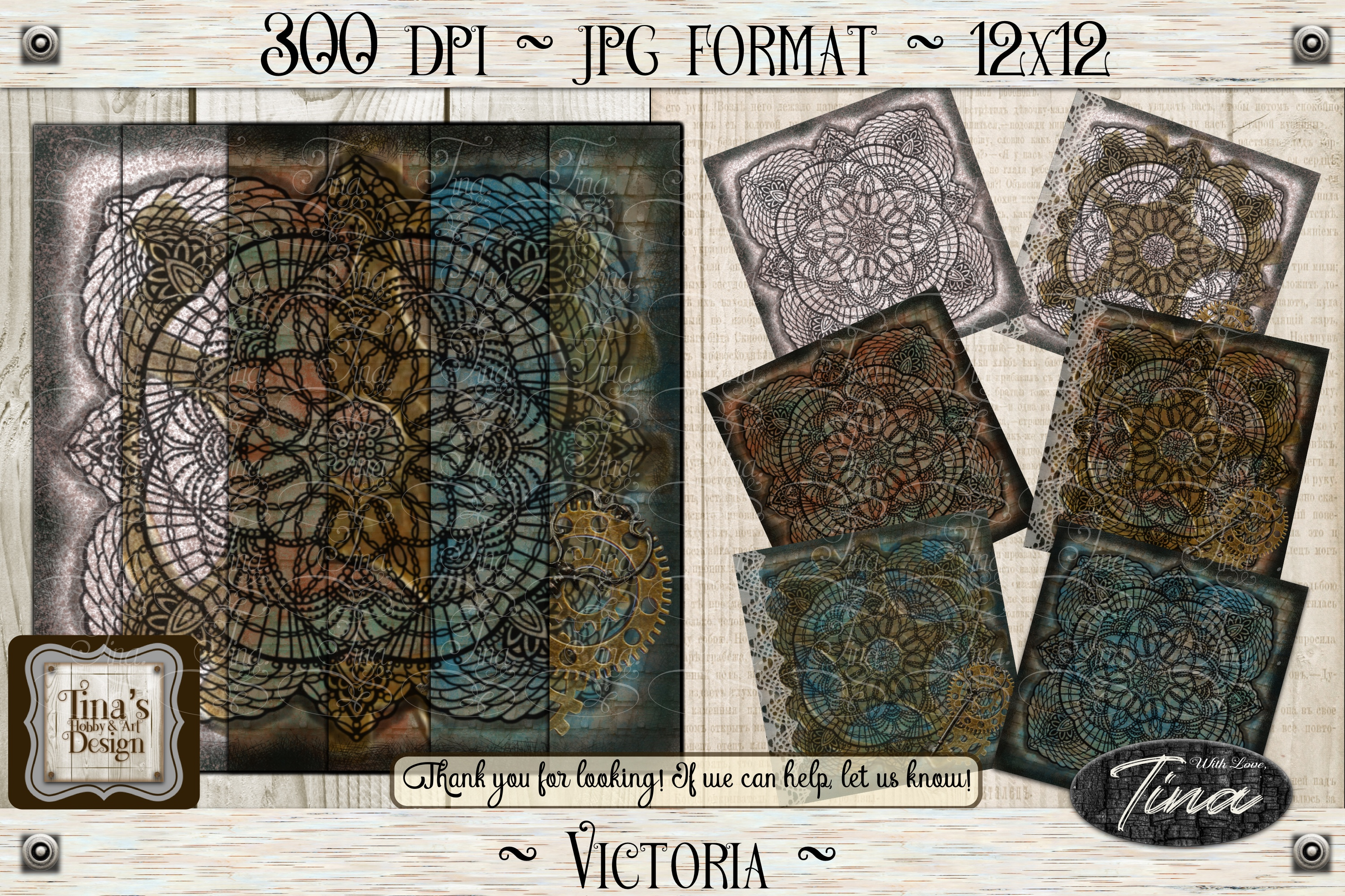 Victoria Steampunk Lace Doily Paper/Tag Collection 102618 example image 2