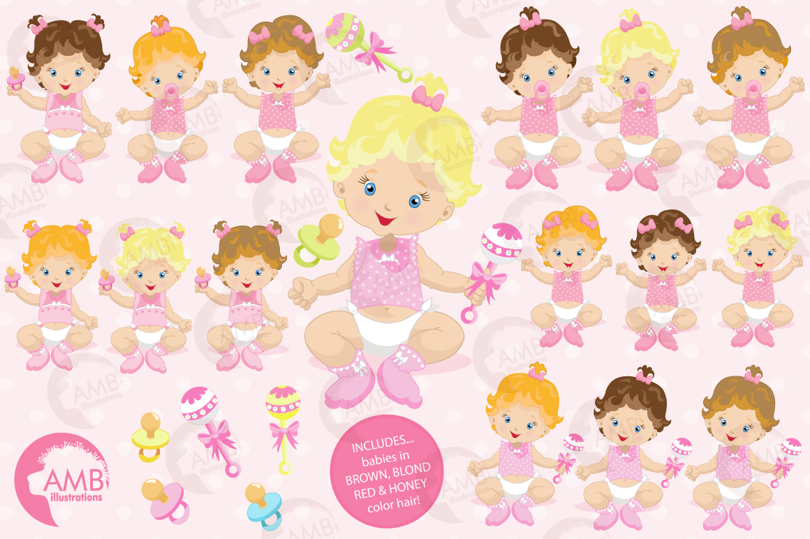 Baby Girl clipart, graphics illustrations AMB-830 example image 5