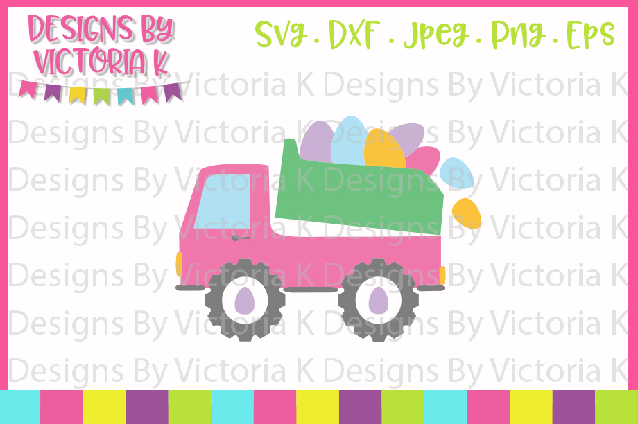 Easter, Easter Truck, Egg, SVG, DXF, PNG example image 1