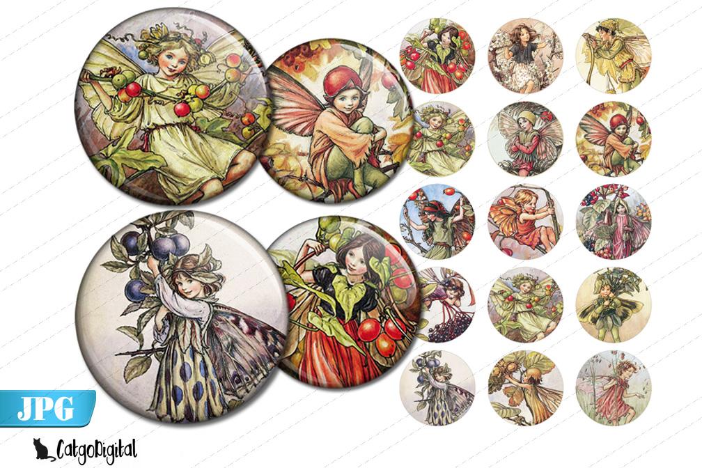 Flower Fairies printable circle bottlecap images example image 1