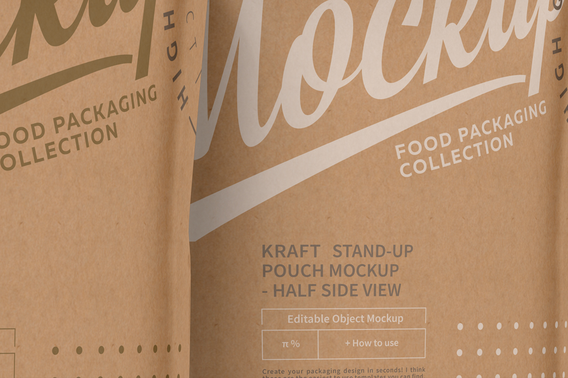 Three Kraft Paper Stand-Up Pouch Mockup example image 4