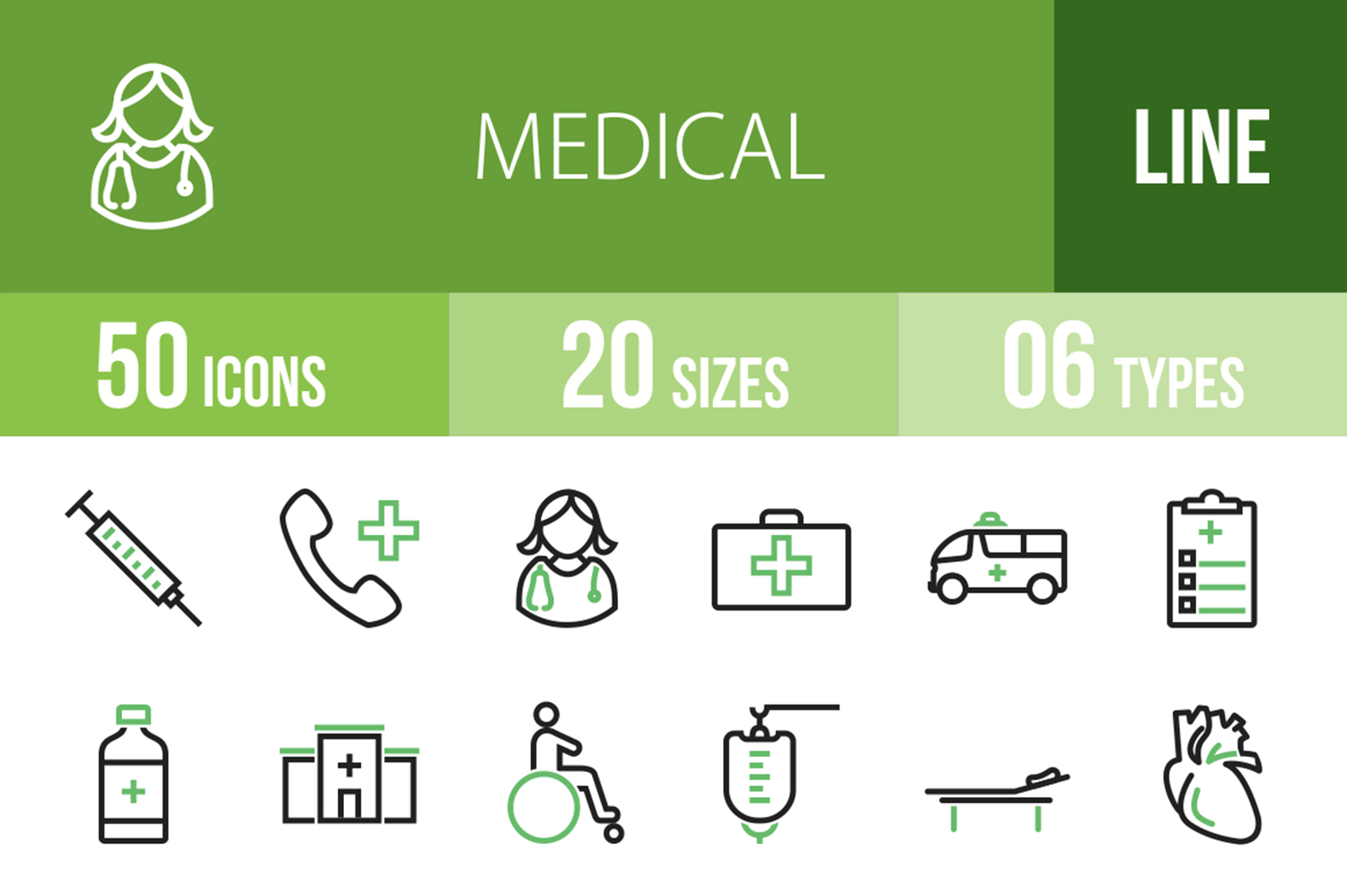 50 Medical Line Green & Black Icons example image 1