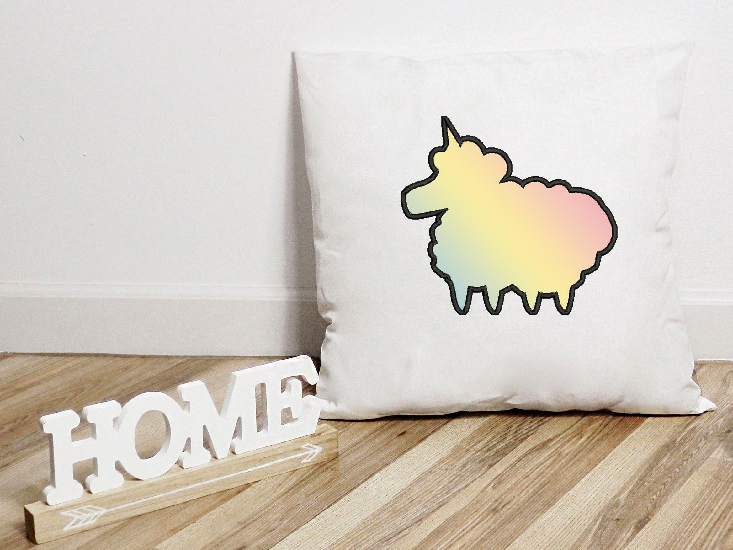 Unicorn Sheep Applique Embroidery Design, Unicorn Embroidery example image 6