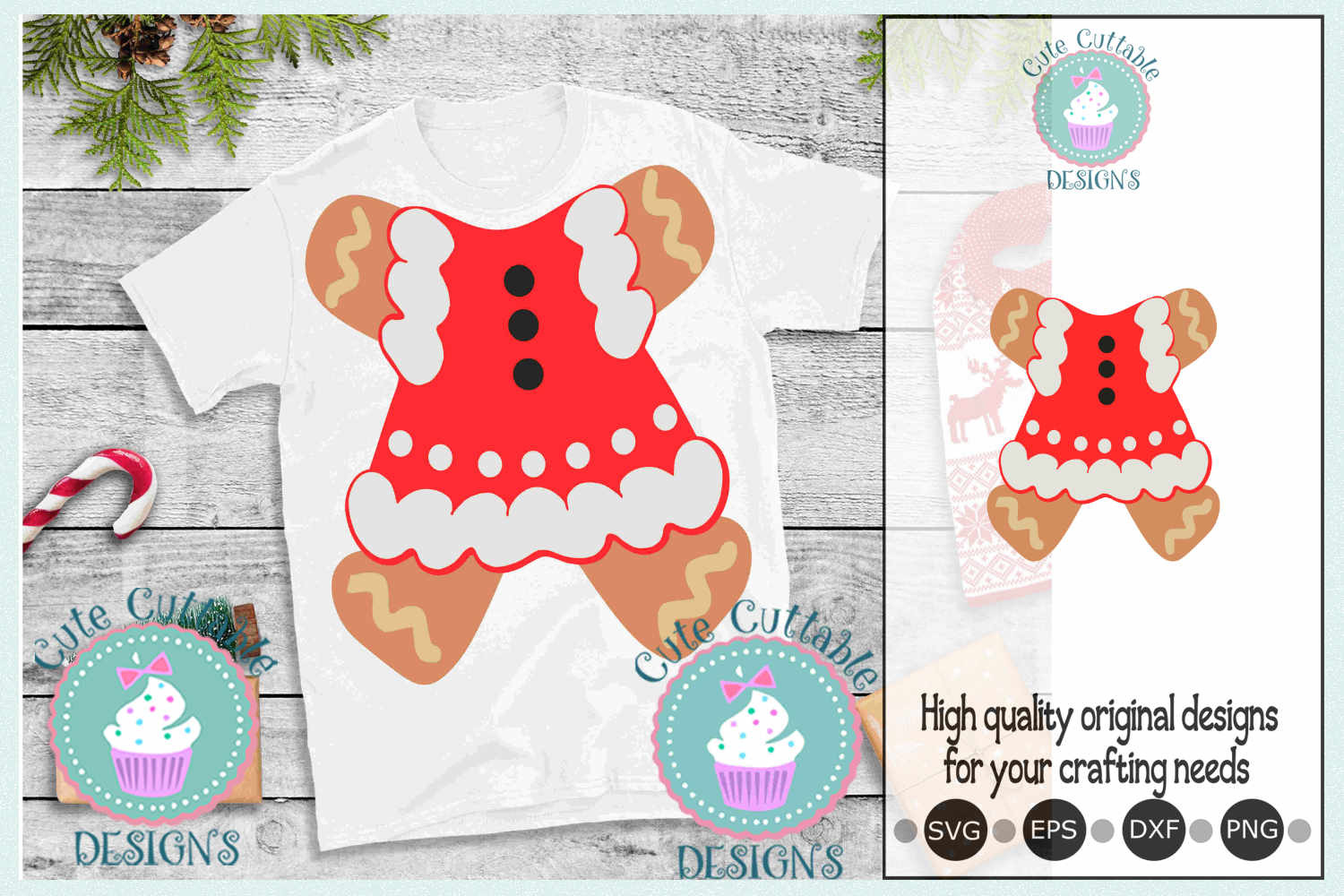 Ugly Christmas sweater, Gingerbread man woman body suit svg example image 1