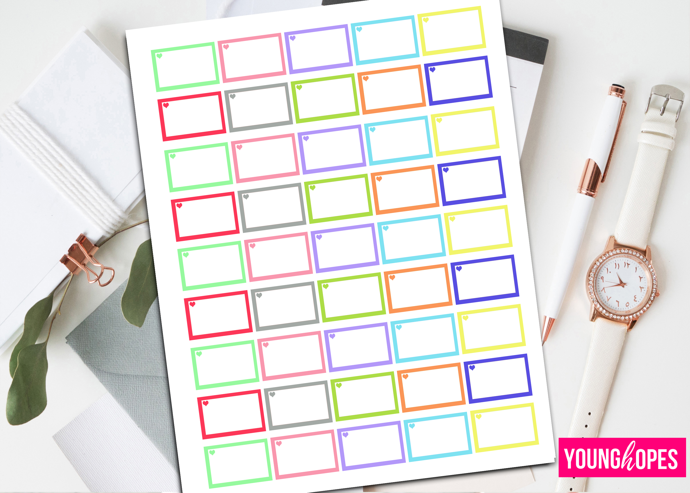 Half Box Planner Stickers-Printable Planner Stickers example image 1