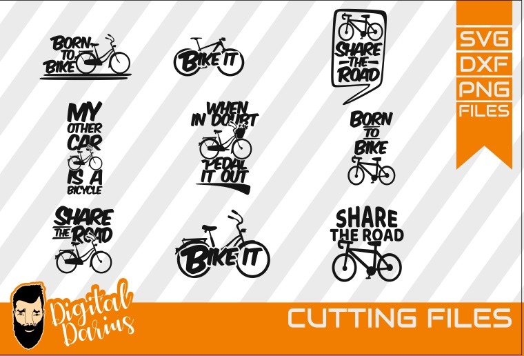 9x Bicycle Bundle svg, Bike it svg,share the road, Sport example image 1