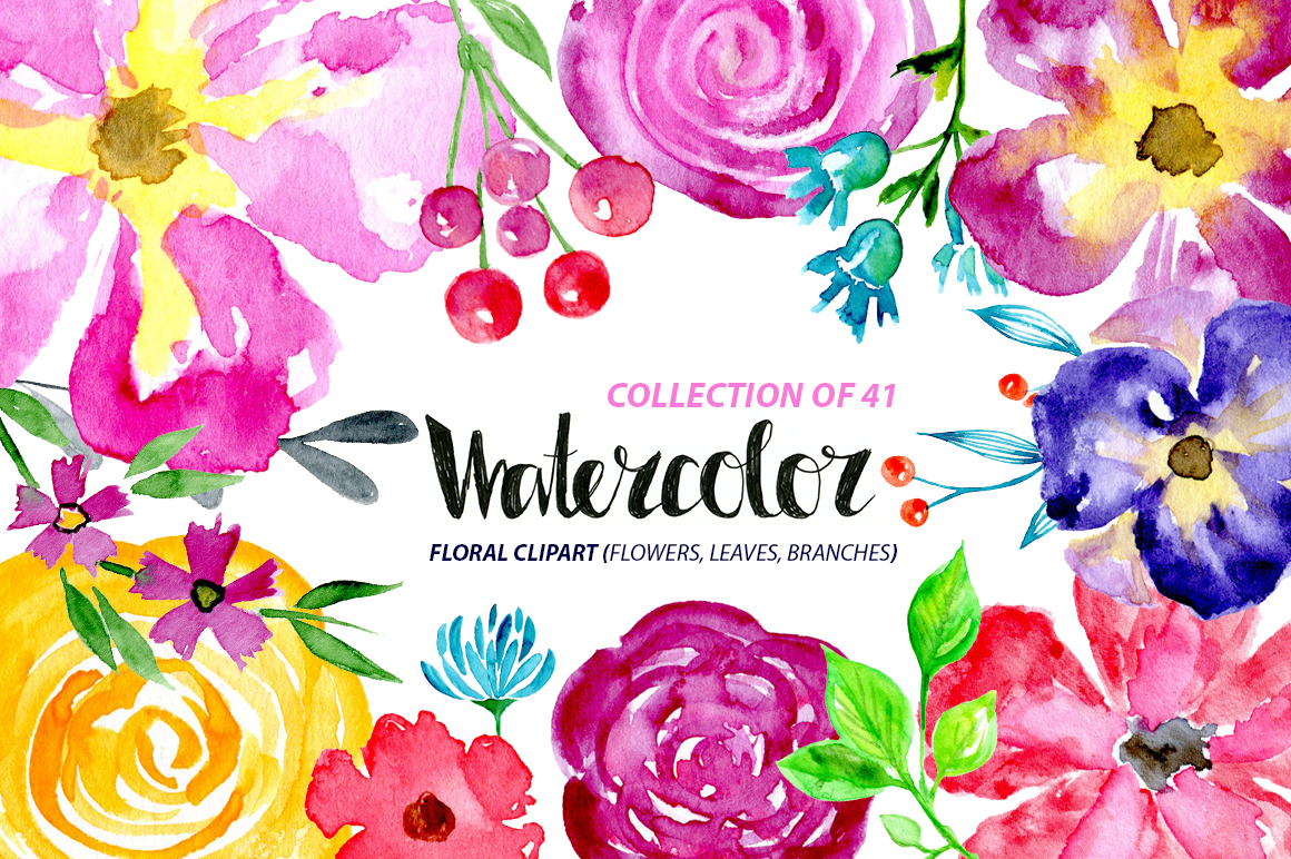 Watercolor flowers leaves floral elements example image 1