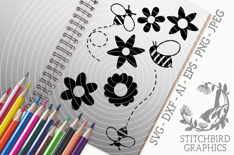 Bumblebee Bundle SVG, Silhouette Studio, Cricut, Eps, Jpeg example image 1