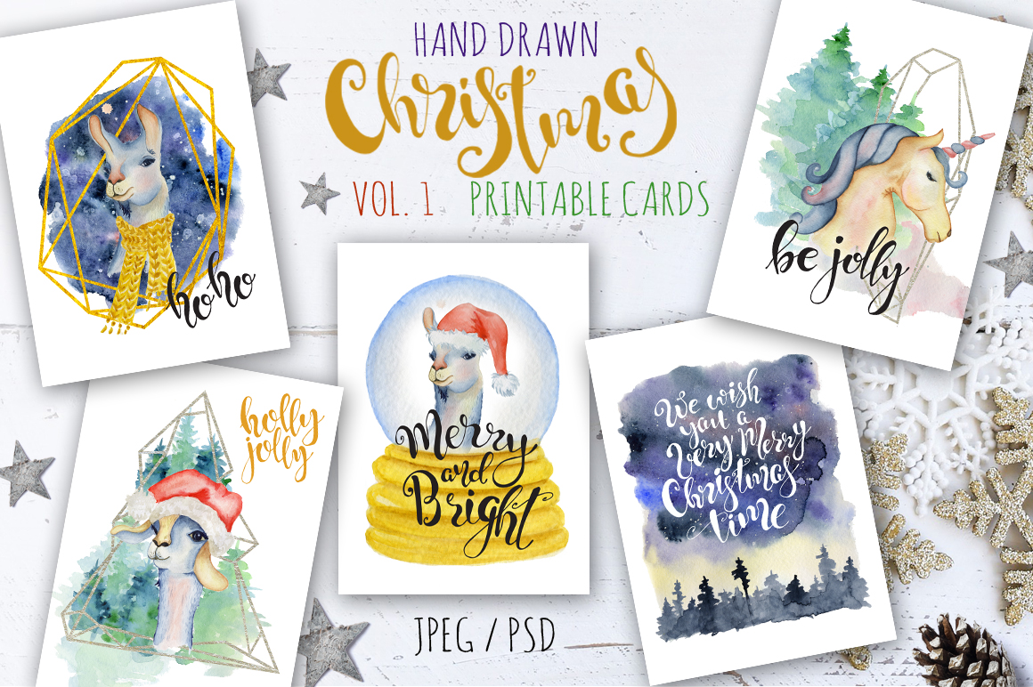 Magical Winter Bundle. Big Watercolor and lettering collection example image 8