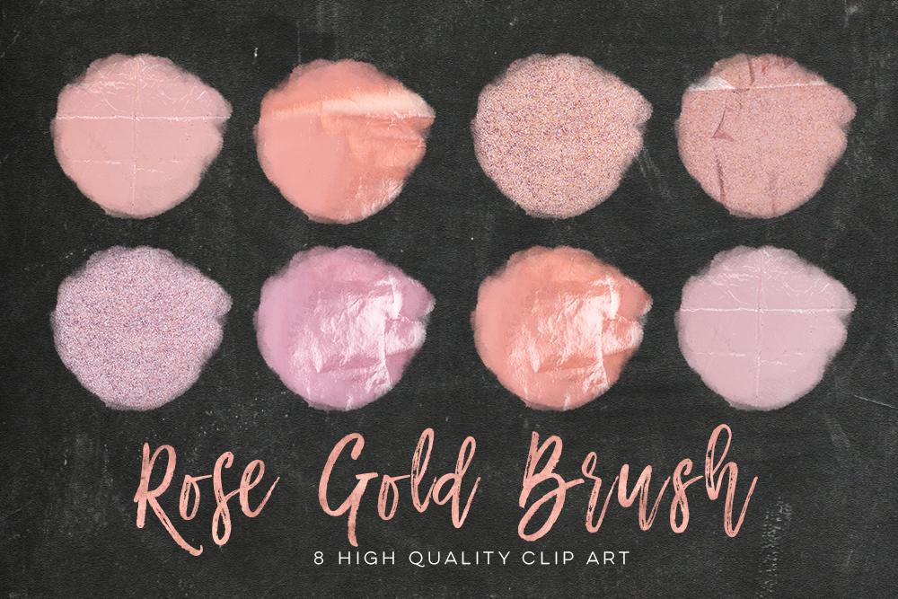 Rose gold circle brush strokes, Rose Minimal Decor strokes, Simple Painting clip art, Rose Gold Circle Frame, Handpainted brush strokes example image 3