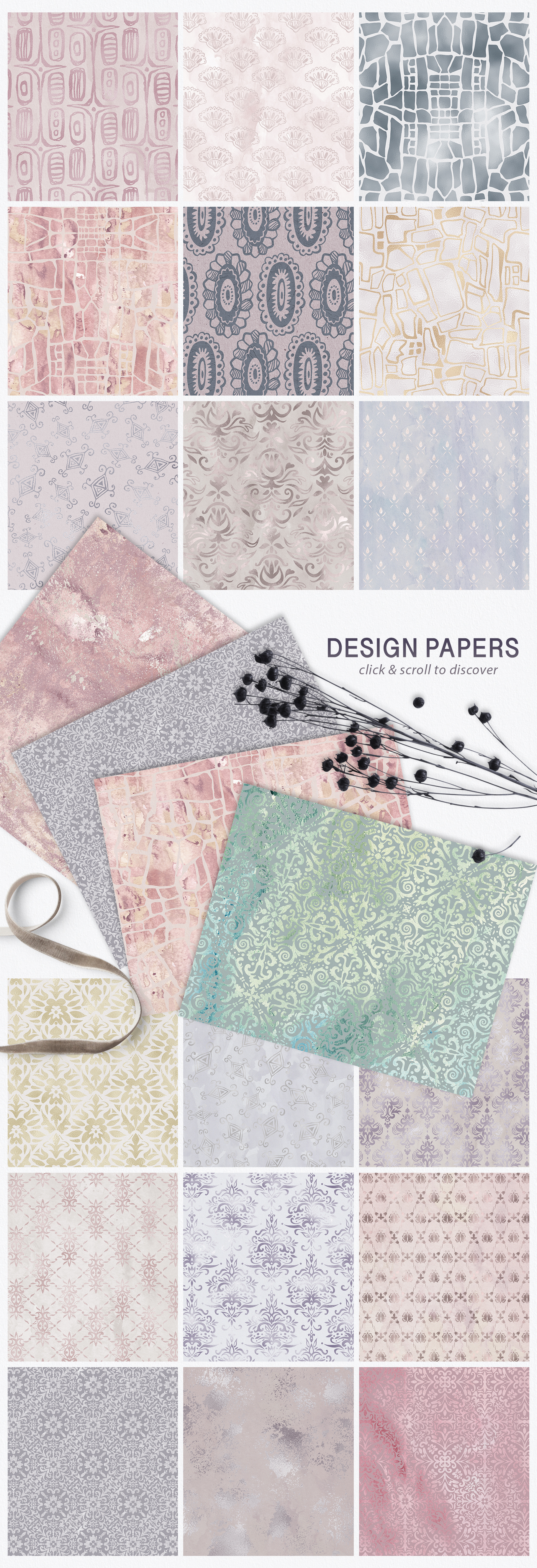Seamless Textures & Patterns Bundle - Shabby Chic Design Kit example image 5