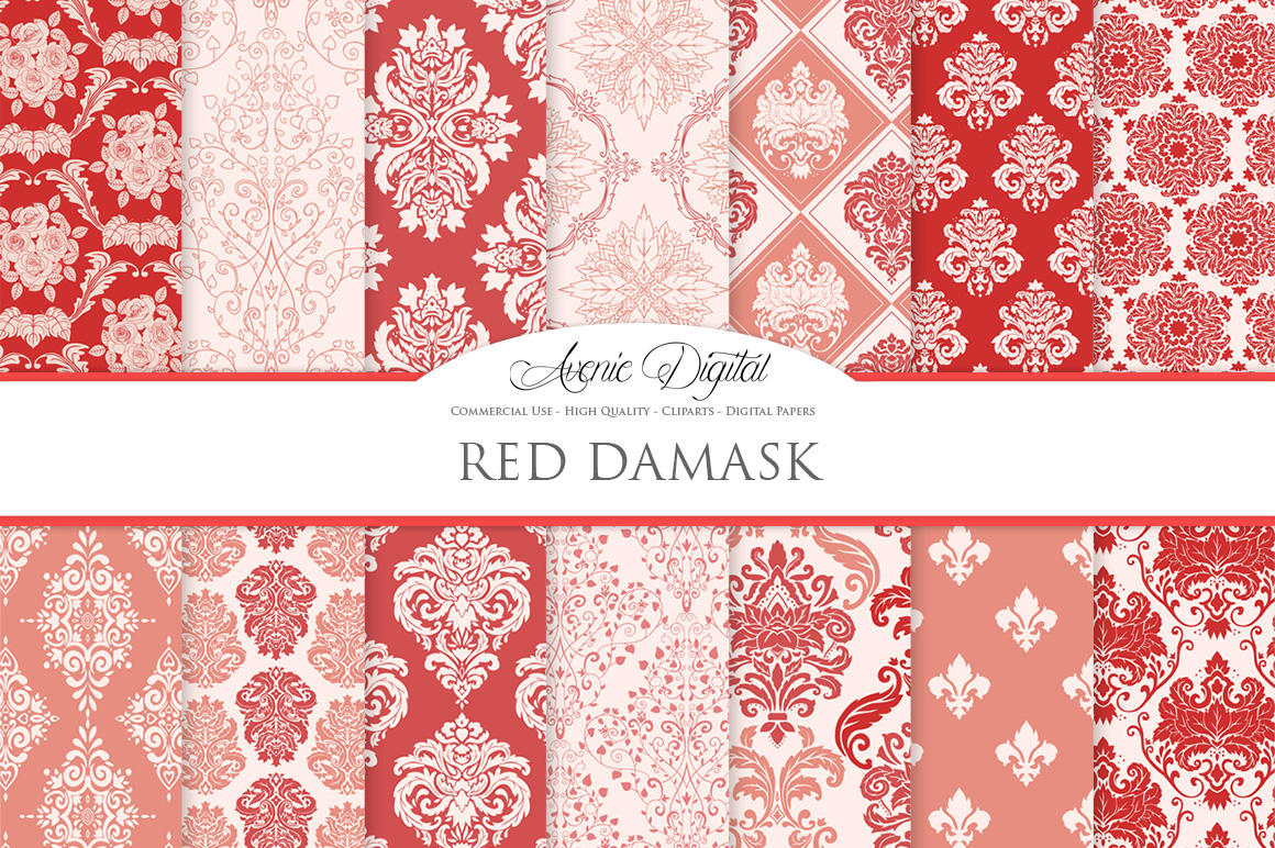 28 Red Damask Patterns - Seamless Digital Papers Bundle example image 1