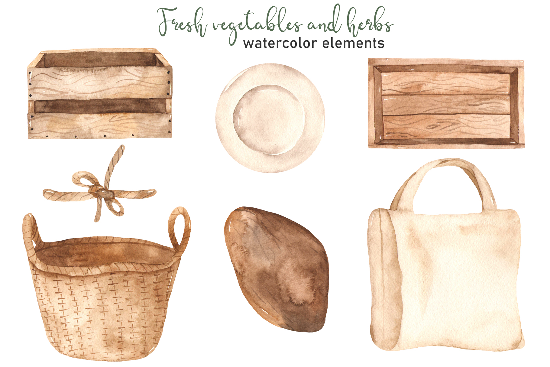 Vegetables and herbs Watercolor collection Clipart example image 11