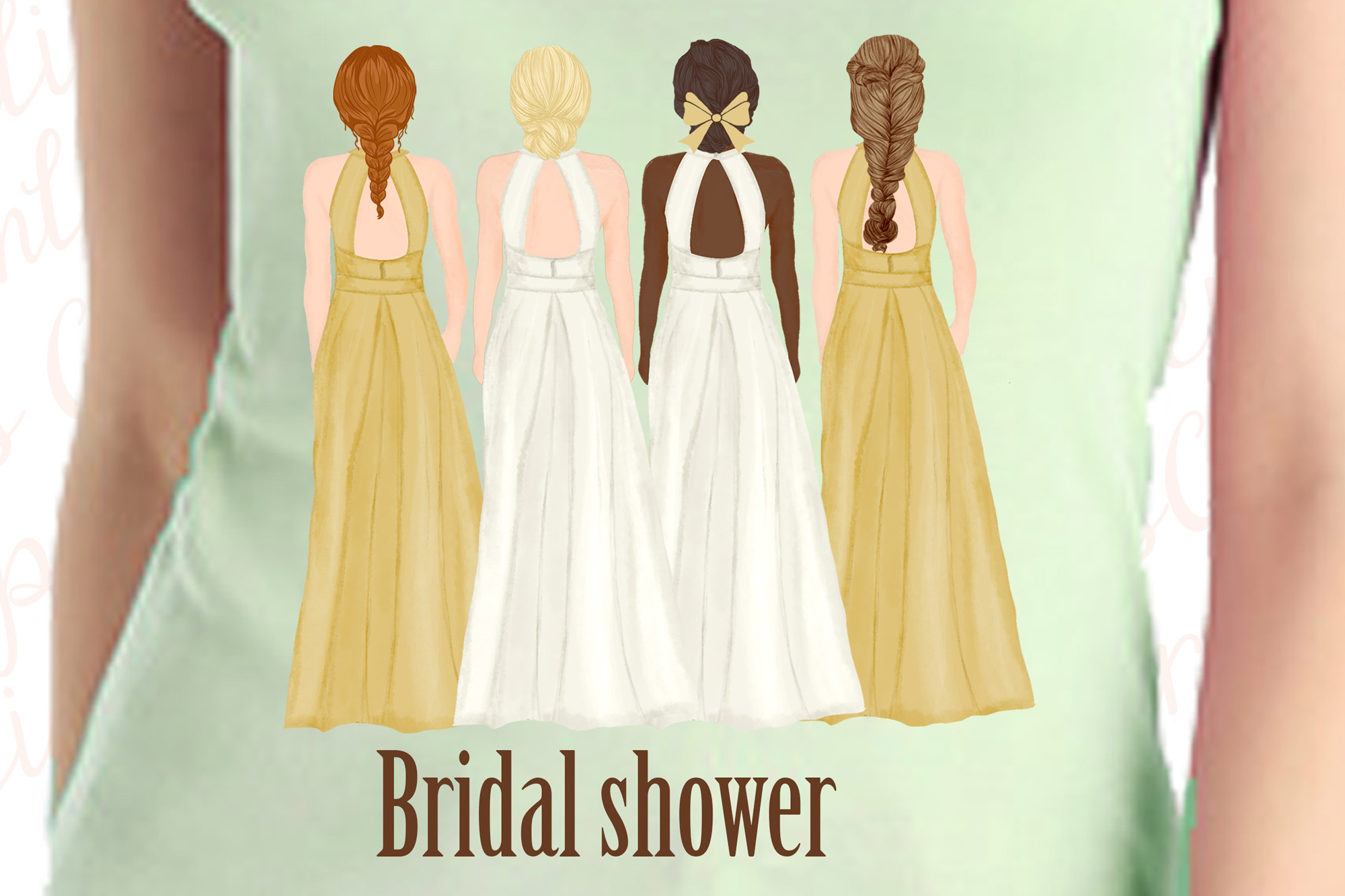 Bride and Bridesmaids clipart,Wedding clipart,Bridal clipart example image 4