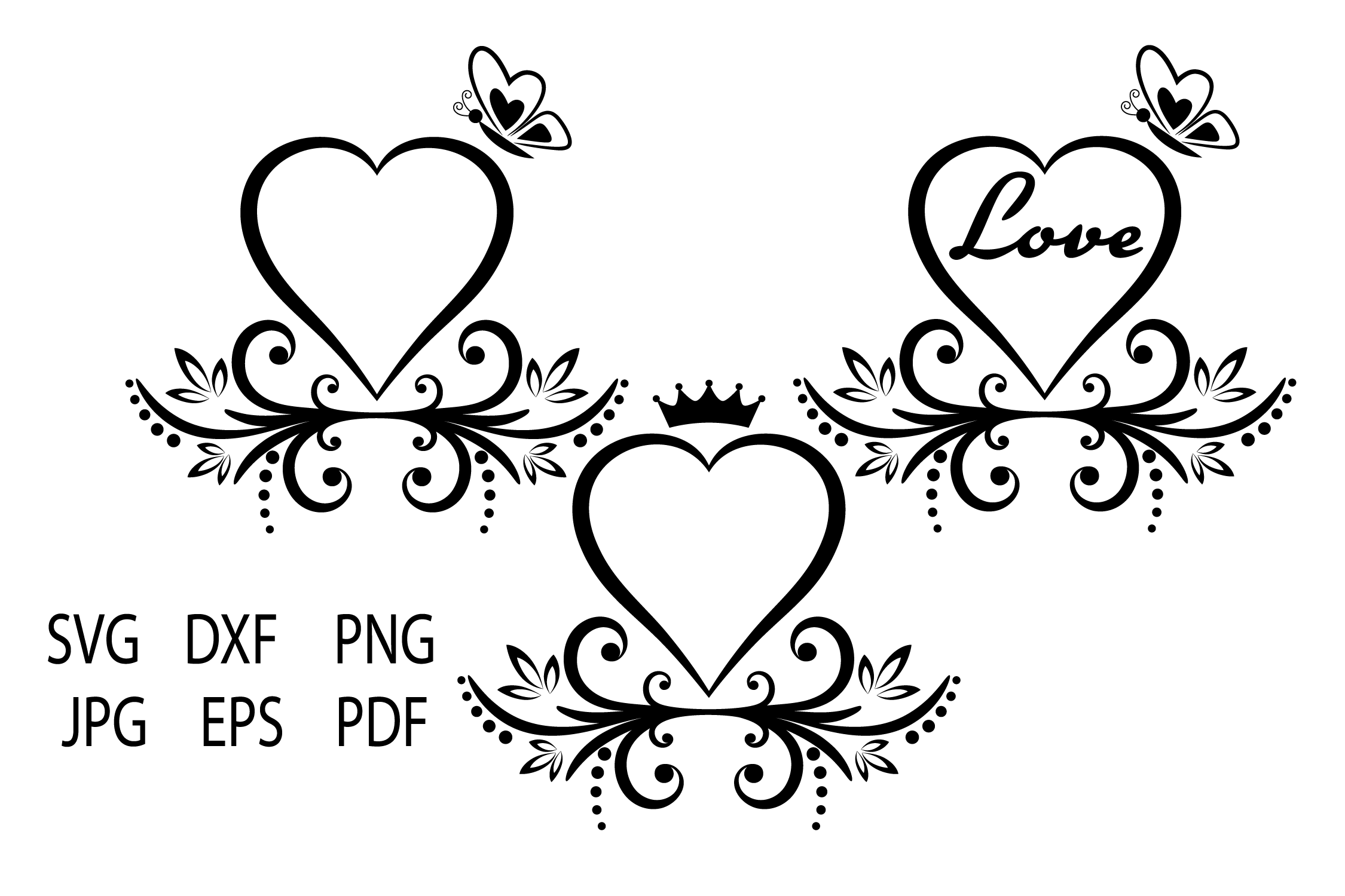 Heart SVG, Heart Cut Files, Love, Floral Heart SVG example image 2