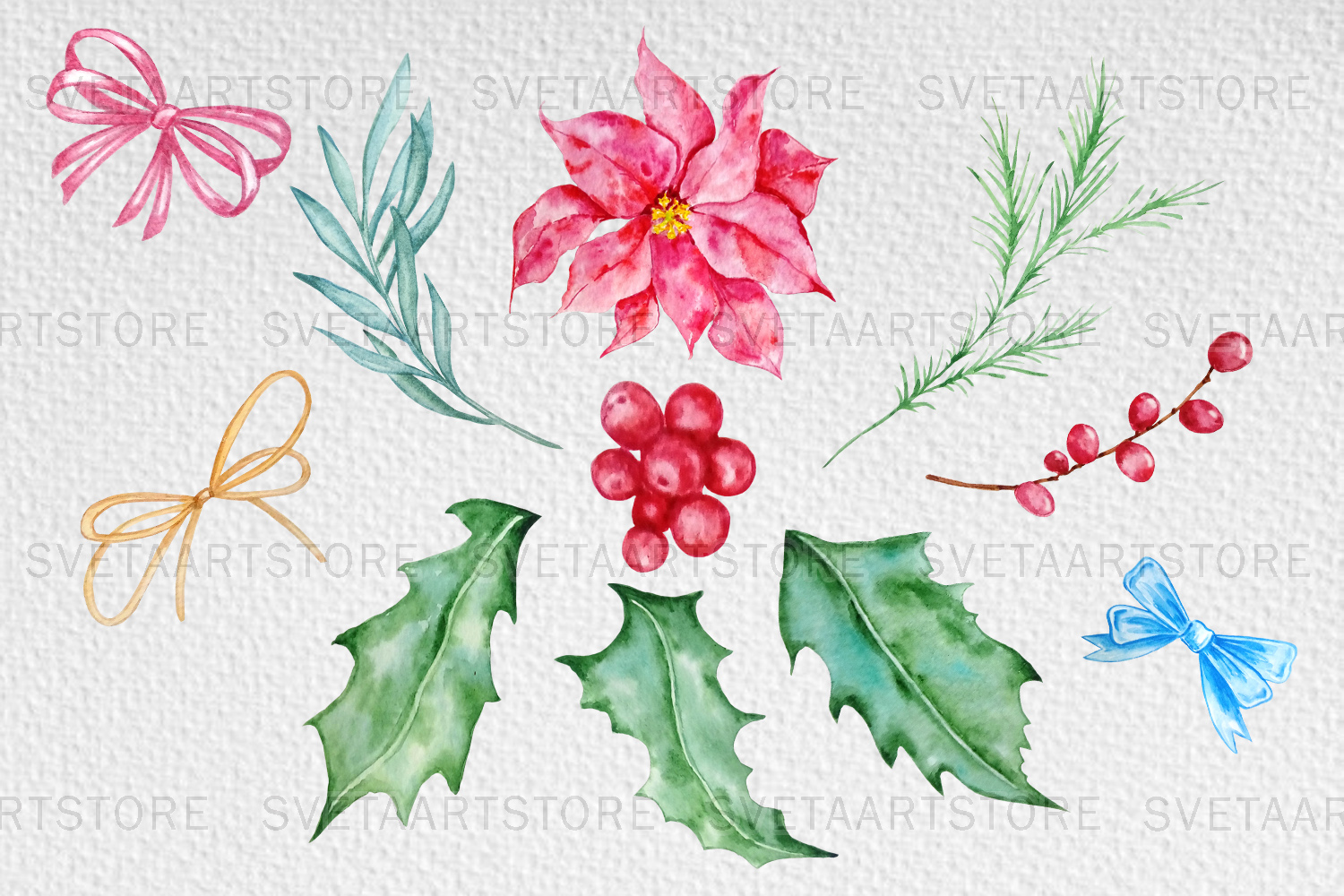 Christmas cupcakes clipart, watercolor cake example image 5
