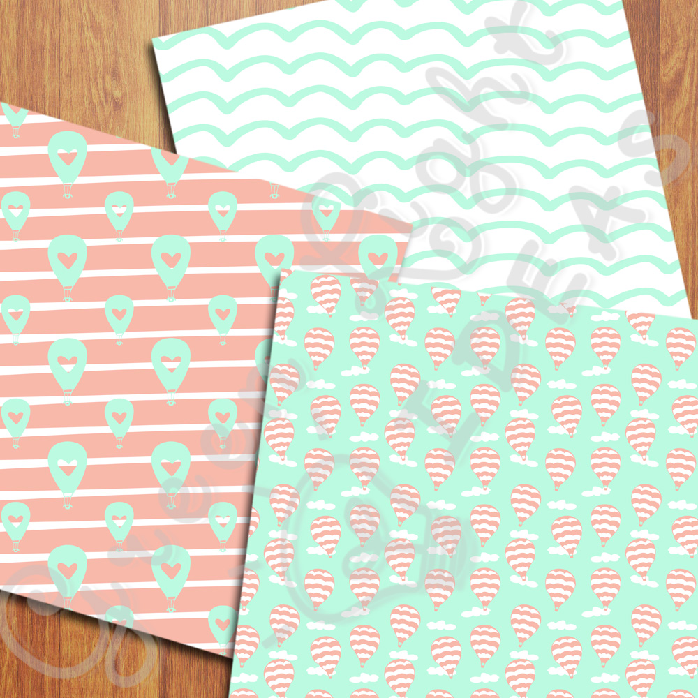 Mint and Coral Hot Air Balloons Digital Papers example image 3