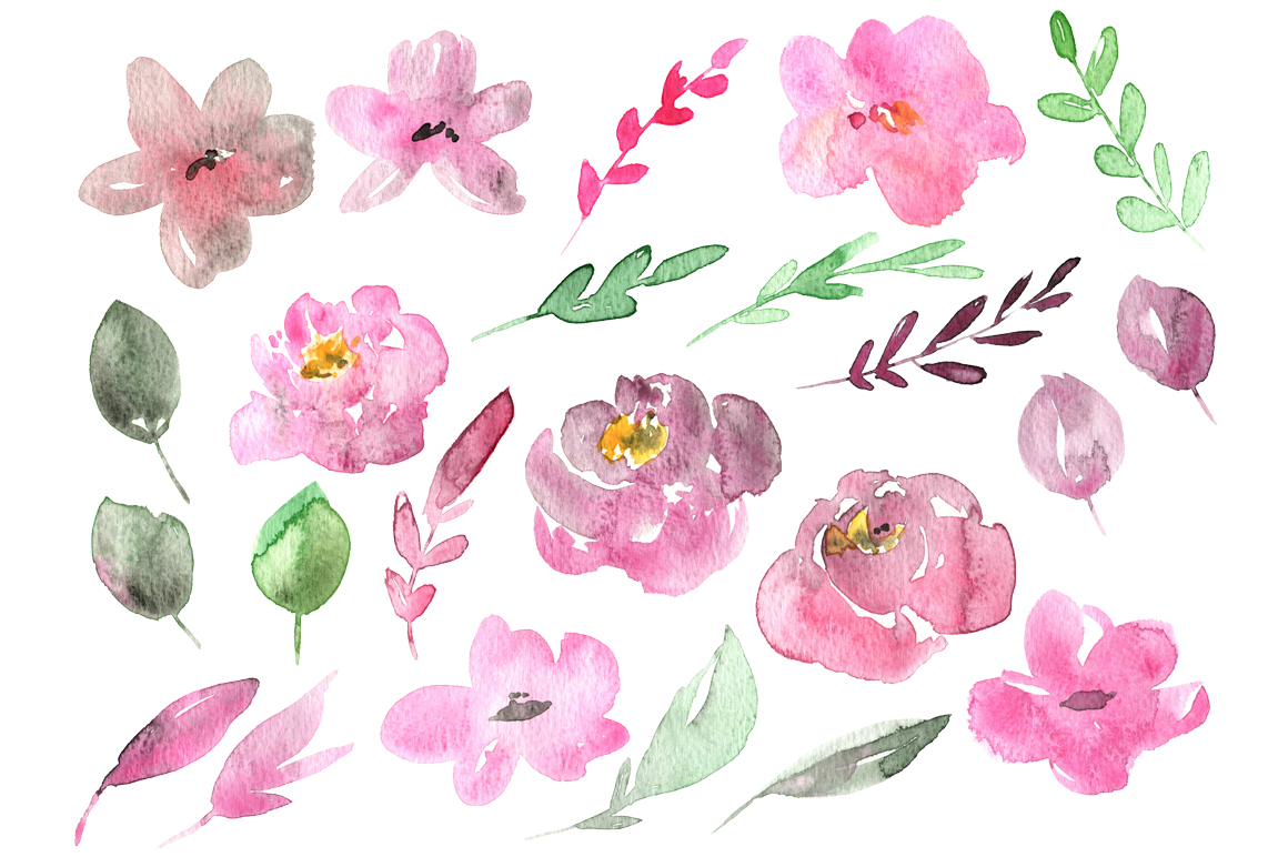 Watercolor pastel flowers set example image 2