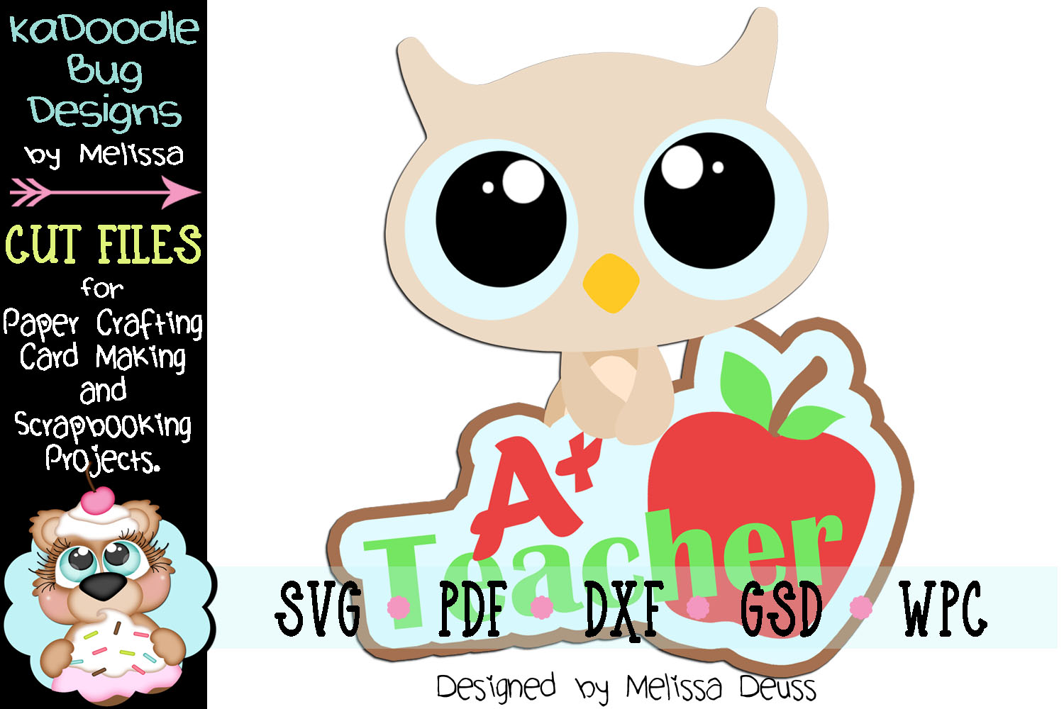 Teacher Baby Owl Cut File - SVG PDF DXF GSD WPC example image 1