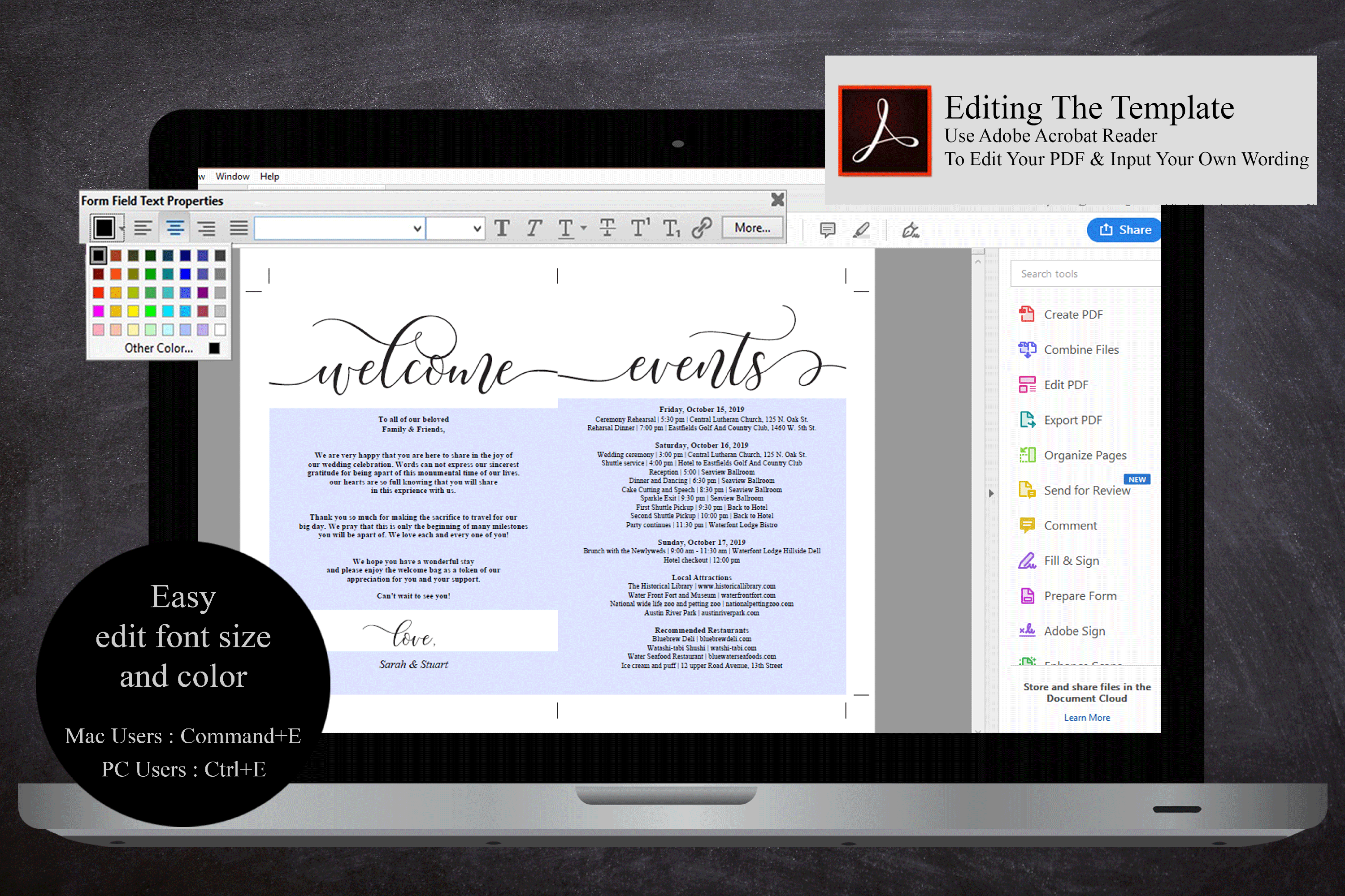 Wedding Welcome and Itinerary card, editable PDF template example image 5