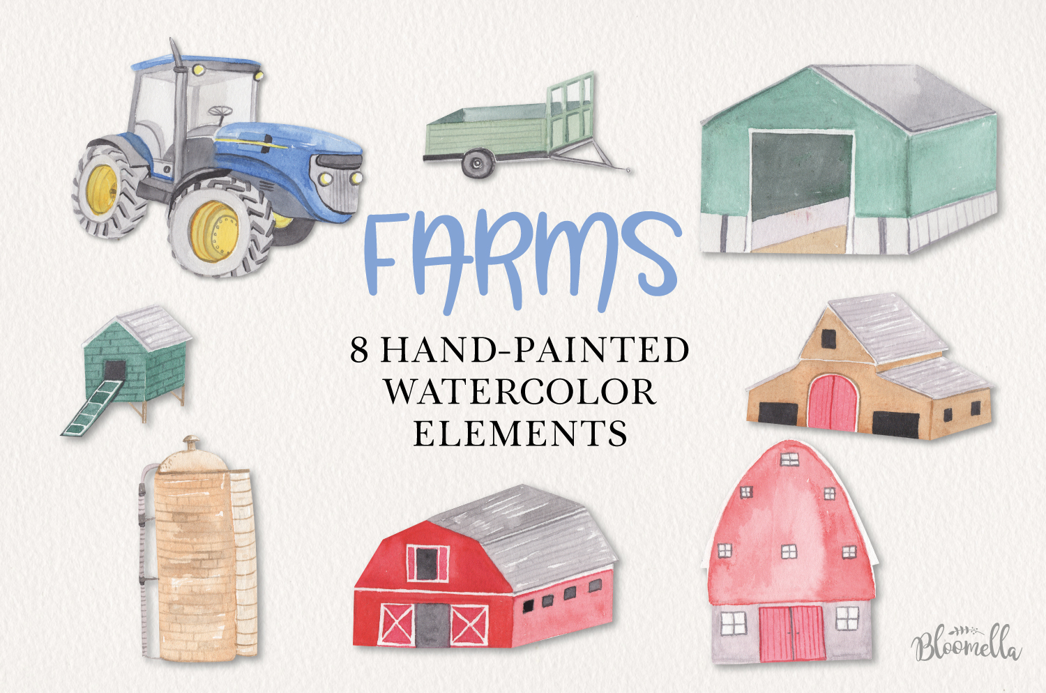Farms Set 8 Hand Painted Watercolor Tractor Out Buildings example image 1