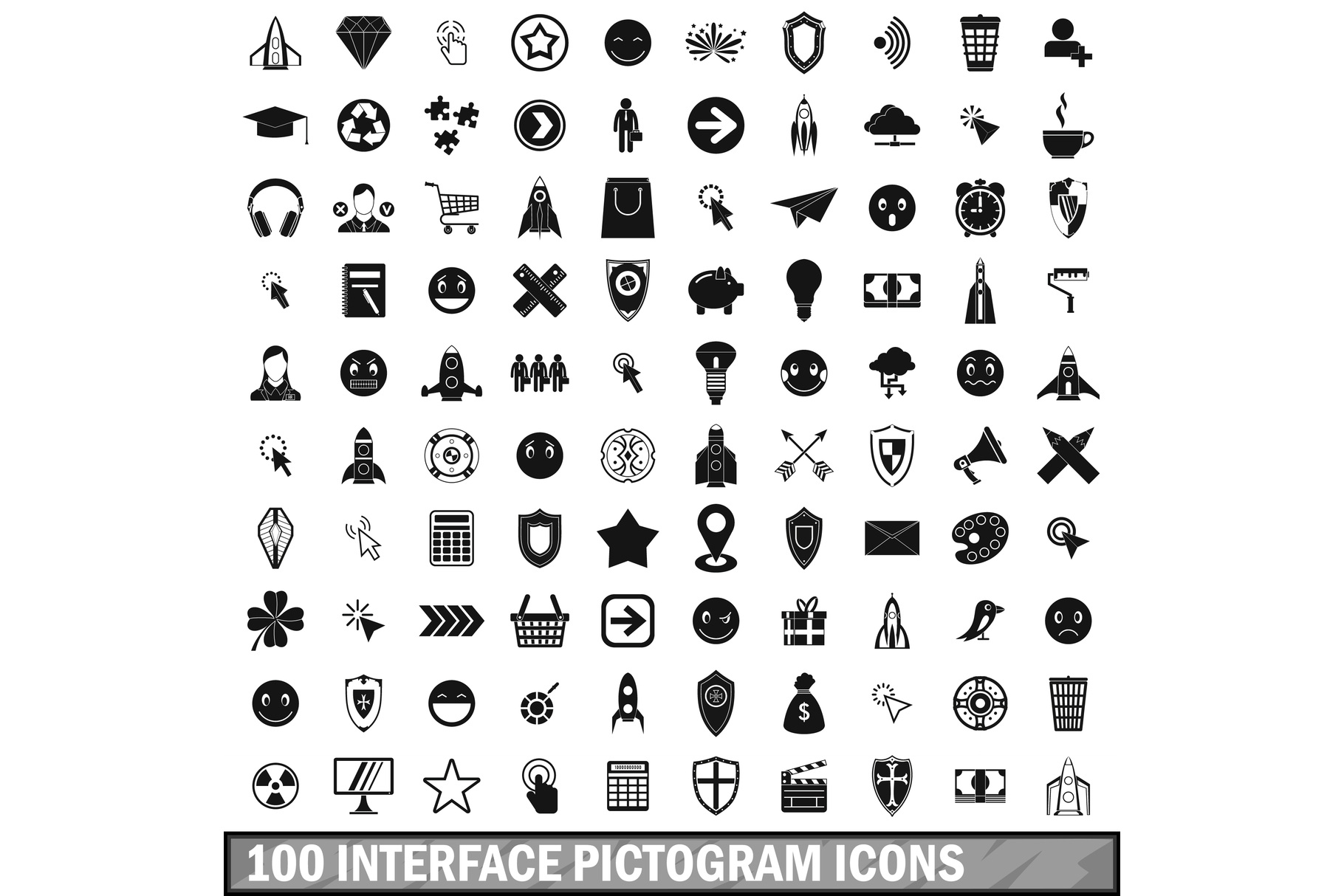 100 interface pictogram icons set, simple style example image 1