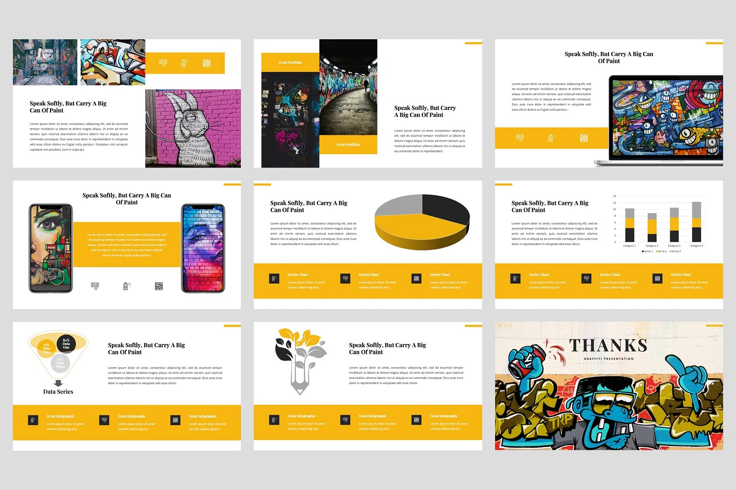 Ganes - Graffiti PowerPoint Template example image 5
