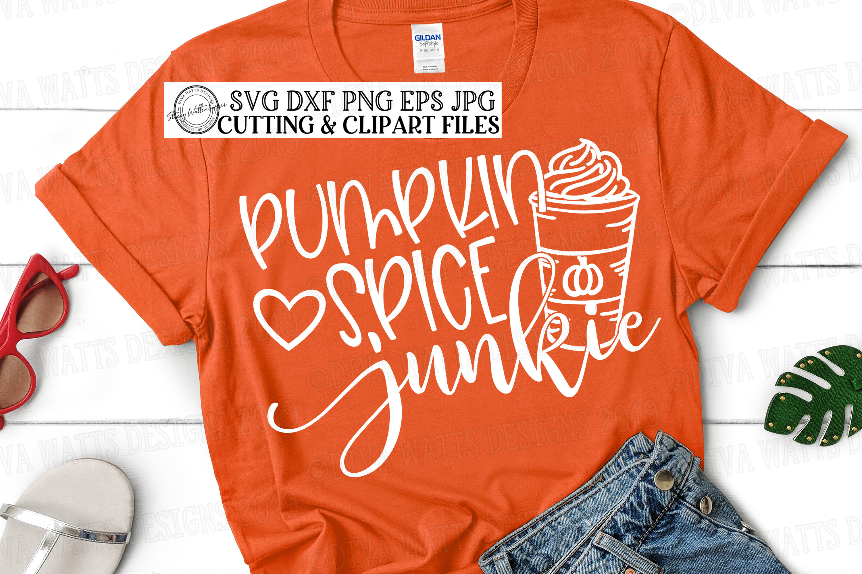 Pumpkin Spice Junkie With Latte and Heart Fall Cutting File example image 1