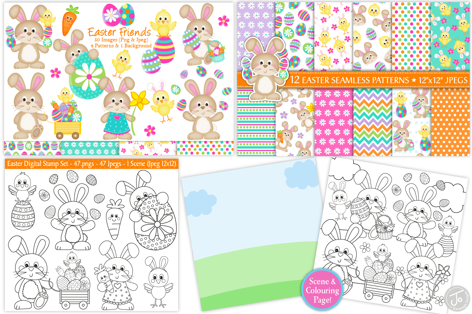easter bundle, Easter bunny graphics and illustrations example image 4