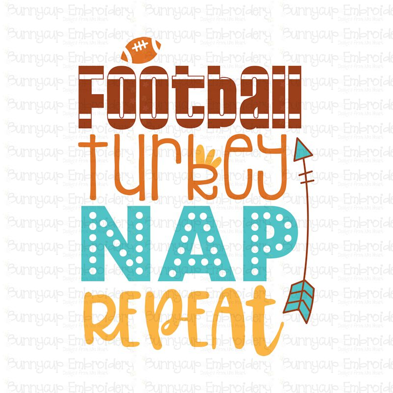 Football Turkey Nap Repeat - SVG, Clipart, Printable example image 2