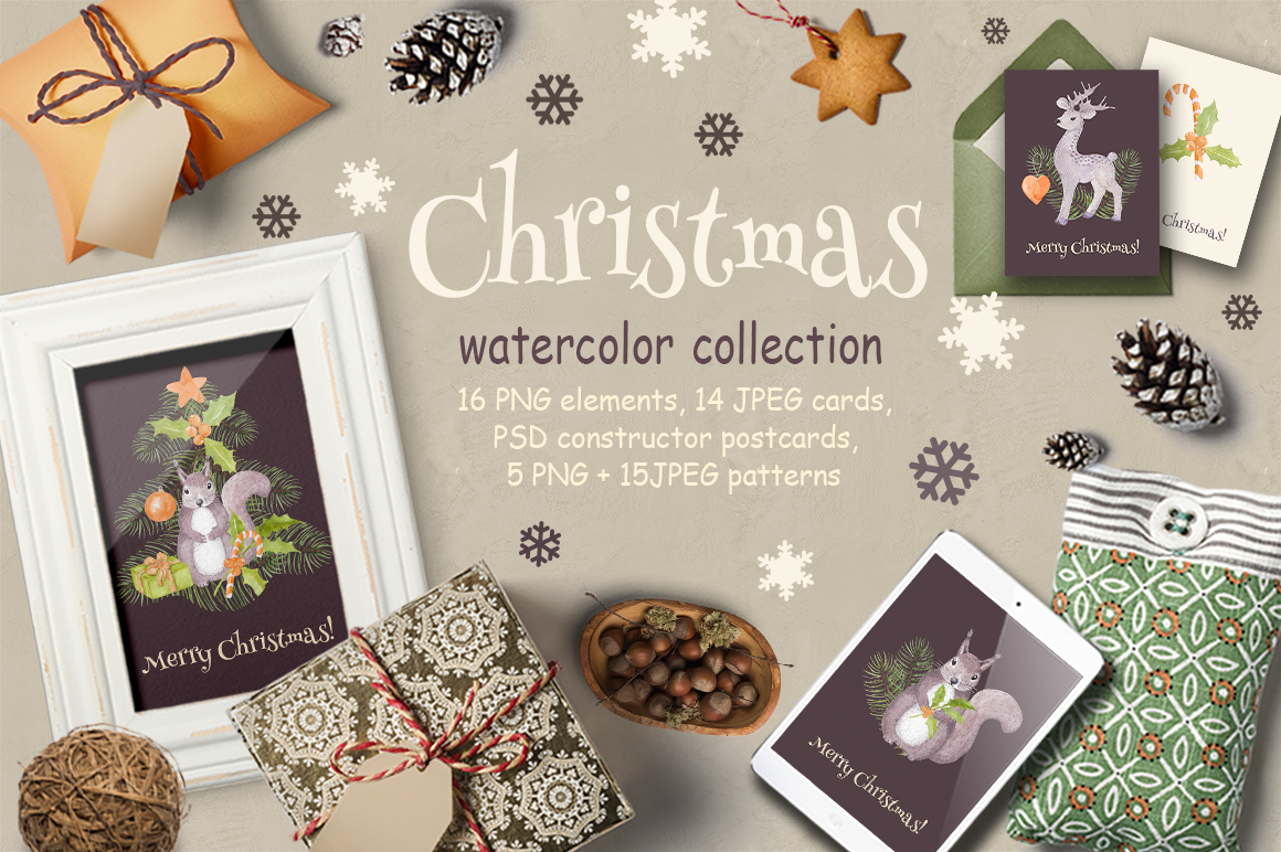Christmas watercolor example image 1