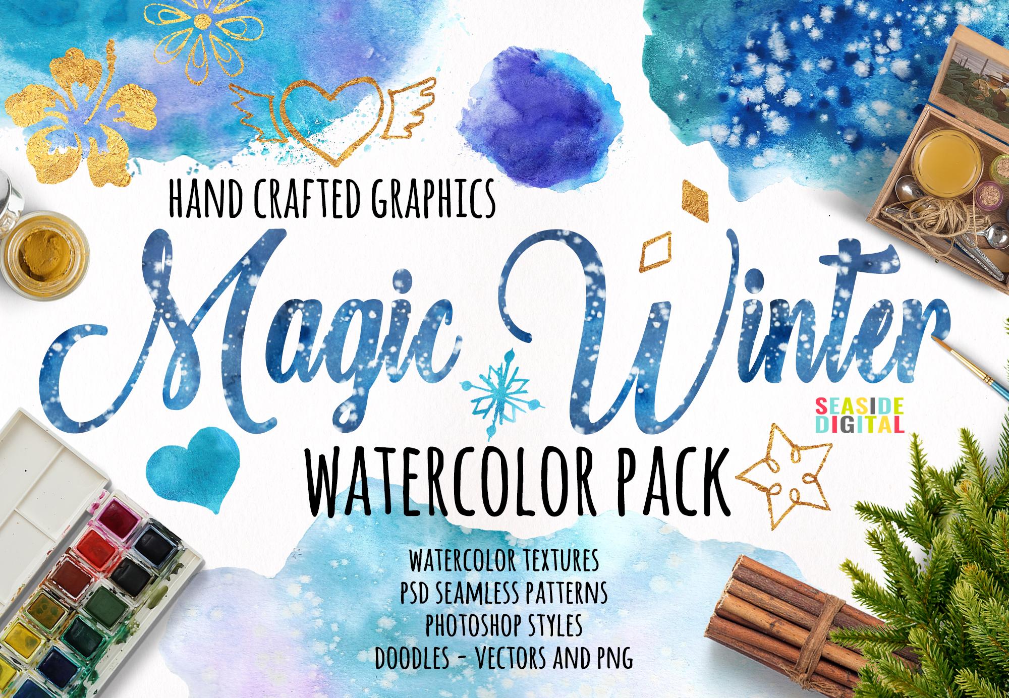 Magic Winter Watercolor Pack example image 1