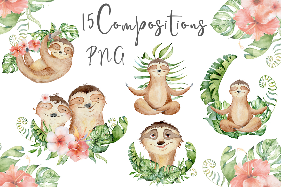 Lovely Sloths Watercolor set example image 3