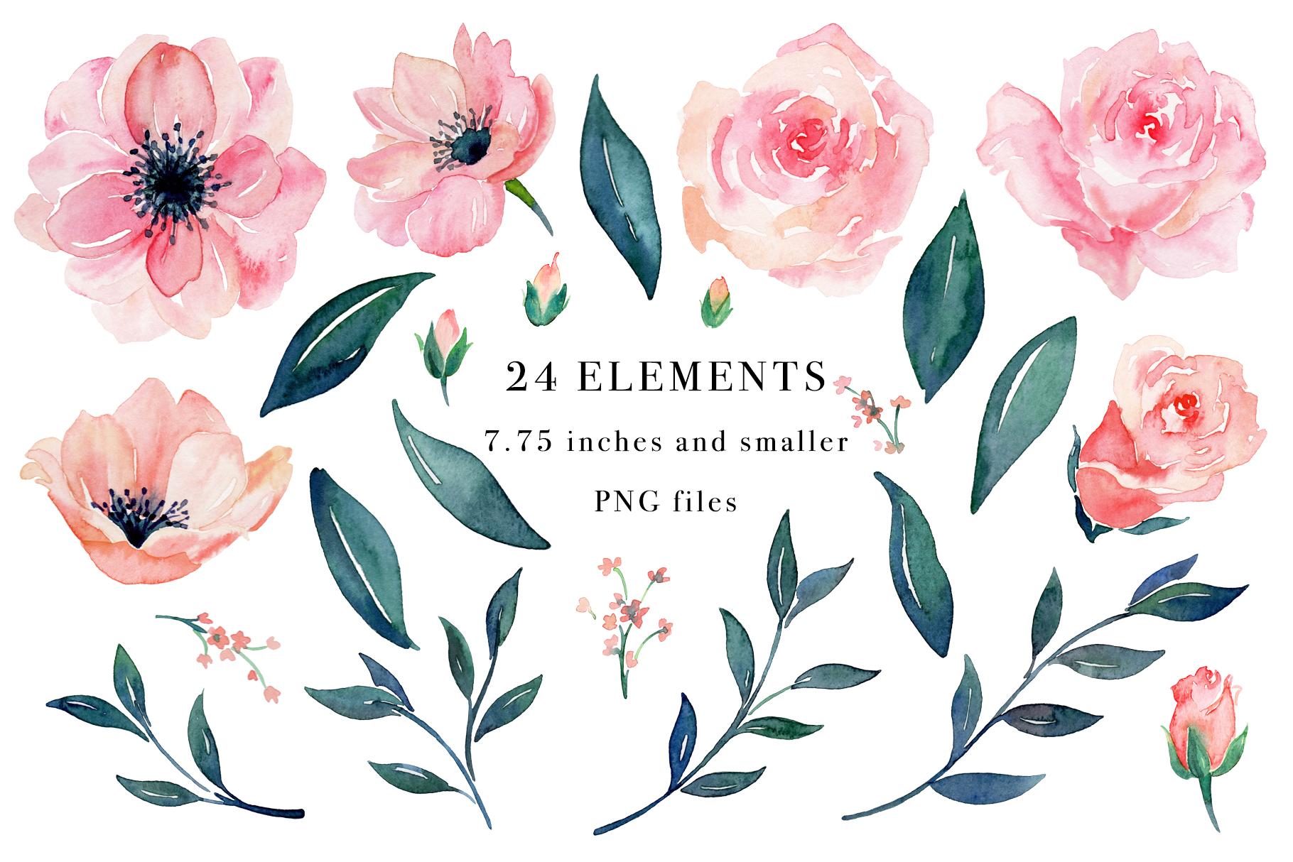 Floral Watercolor Bundle example image 20
