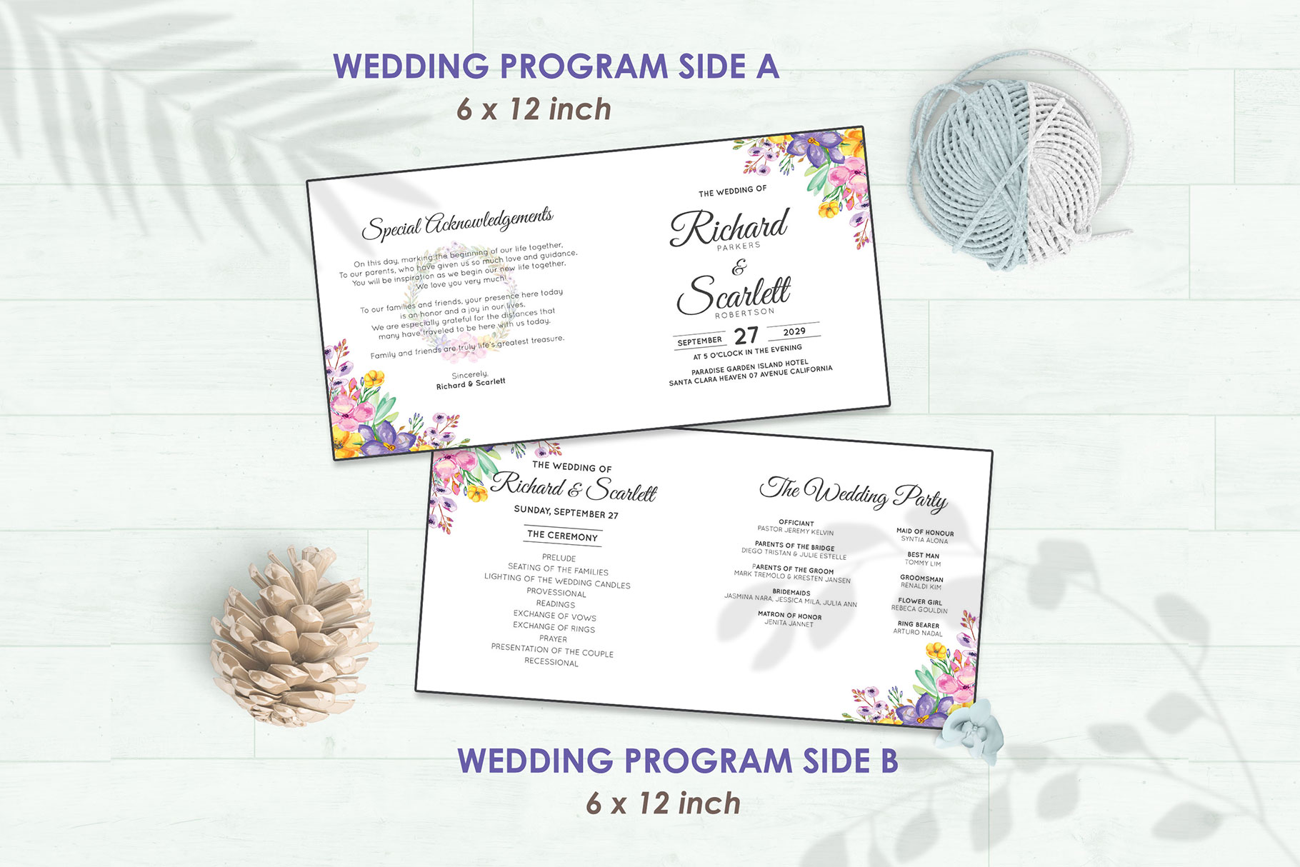Wedding Invitation Set #1 Watercolor Floral Flower Style example image 5