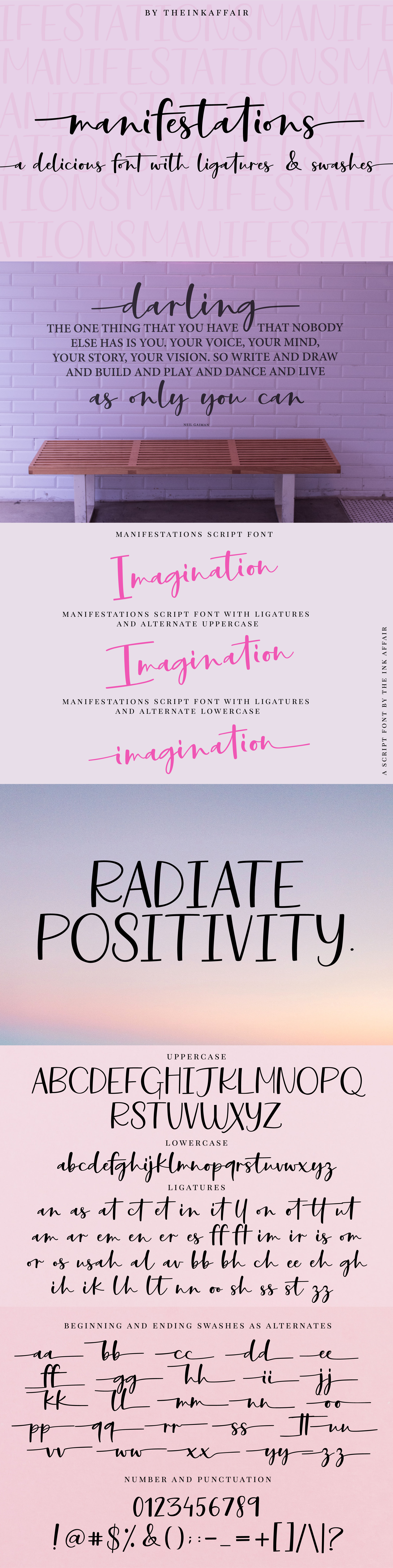 Manifestations, a modern calligraphy script font example image 3