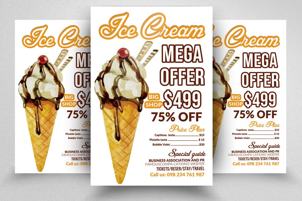 10 Ice Cream Discount Flyer Template Bundle example image 5